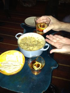 Eric and Brett's Fennel-Parmesan Dip, along with the Toulouse Red Sazeracs (served in our fine 1950s red pheasant barware, which makes everything taste better)