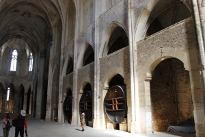 The giant wine casks in the church at the Abbaye de Valmagne