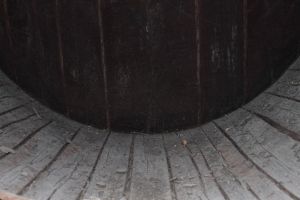 The inside of one of the big wine casks.