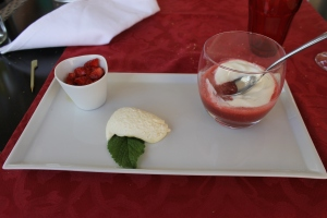 The strawberry soup at Restaurant Le Faitout in Berlou.  It was served with fresh strawberries and a little lemon ice cream.