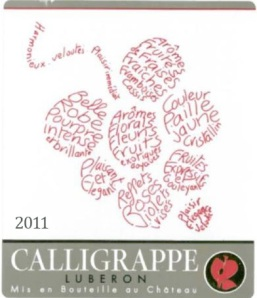 The name Calligrappe comes partly from the picture, which is called a calligramme in French (a picture made up of words), changed to Calligrappe because it sounds more like grapes.