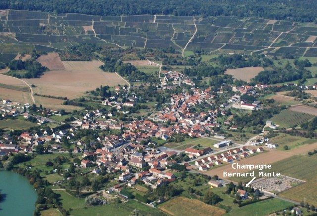 An aerial view of Champagne Bernard Mante and Trélou-sur-Marne.  The German army began its attack from the north just beyond the trees at the top of the ridge.