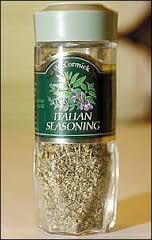 If your rental kitchen has no dried herbs and you can't get fresh, buy a small jar of Italian Seasoning.  It'll work in lots of dishes and the next renters will love you for leaving it for them.  (Photo from styleforum.net)