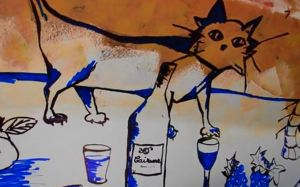 The wine cat of Cairanne, from a grape wagon at the Vendanges des Artistes.