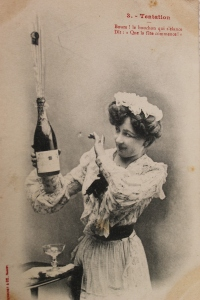 One of Bernard's historical postcards from Champagne.  Perhaps the lady is expressing delight at drinking champagne containing Arbanne and Petit Meslier?