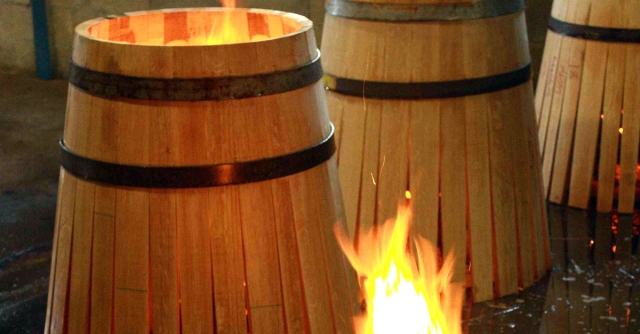 Wood used in making barrels has to be bendable, but not too bendable, to give the barrel its characteristic shape.  The staves of the barrels are usually softened by heating with an open flame, which also toasts the barrel, adding flavor to the wine.