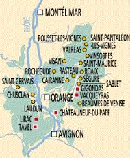 A map of some southern Rhône wine villages.  Guess which ones end in a silent s!