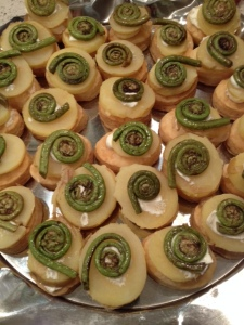 Our appetizer with fiddlehead ferns, potatoes, and cheese.  Cy and I served it on rounds of puff pastry, but you can use baguette slices instead.