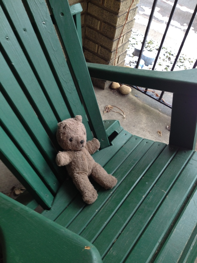 Our porch bear is happy the snow is gone.  We are too, so we can sit outside and enjoy our wine!