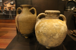 Two unadorned Greek wine amphorae, recovered from a shipwreck.