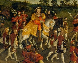 Henry VIII of England riding to meet François I of France at the Field of the Cloth of Gold in 1520. François gave Henry 50 barrels of Gaillac wine, which increased the wine's popularity in England.