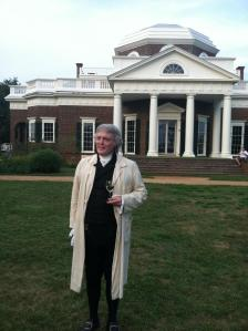 I recently learned that Thomas Jefferson liked wine from Gaillac in southwestern France, and had some in his cellar at Monticello. That's not what this colonial impersonator is drinking here, however.