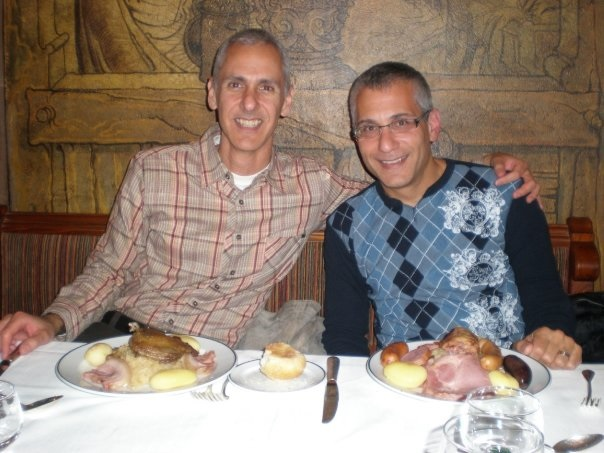 Cy and me at Maison Kammerzell in Strasbourg in Alsace in 2009, eating Choucroute Formidable.
