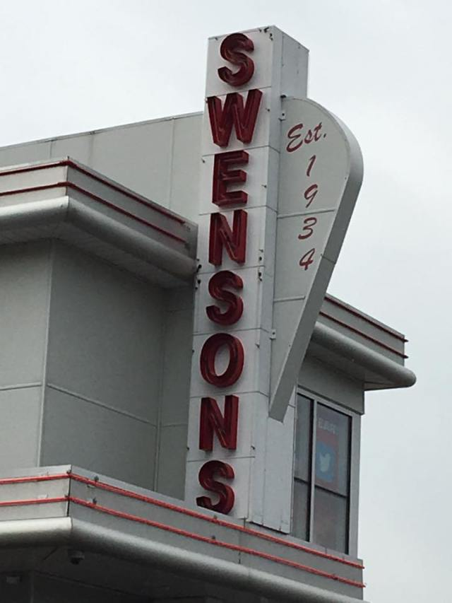 Cy and I visited Swensons drive-in while we were in Akron, at the recommendation of Roadfood. What's not to love about a place where you flash your lights and they bring you food?