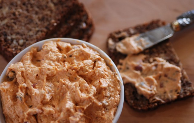 Liptauer cheese spread gets its salmon color from paprika and has a hint of caraway. I hadn't had it for years until I decided to make it recently for a wine tasting. (Photo from internationalcuisine.com)