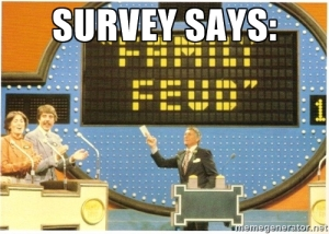 No matter how carefully presented, positive survey results releases always seem to have a bit of Family Feud in them to me.